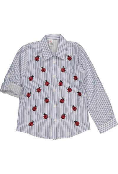 Miss Bella Çizgili Uğur Böceği Nakışlı Cepsiz 5-8 Yaş Gömlek