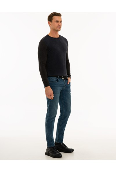 Koyu Mavi Slim Fit Denim Pantolon 50234193-VR032