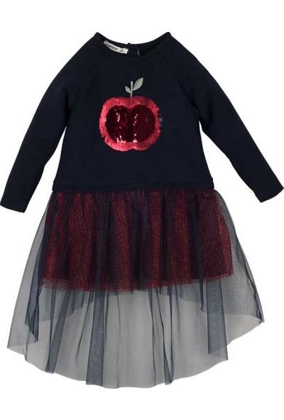Mamino Elbise Uzun Kol Lacivert Kız Çocuk