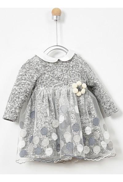 Panço Elbise Kız Bebek Gri