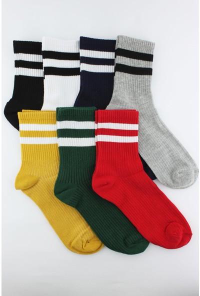 Trick Or Treat 7'li Paket Beyaz Çizgili Renkli Yarım Konç Erkek Çorap