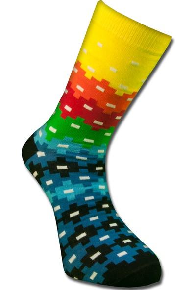 Tutku Çorap Sarı Puzzle Çorabı 40-45
