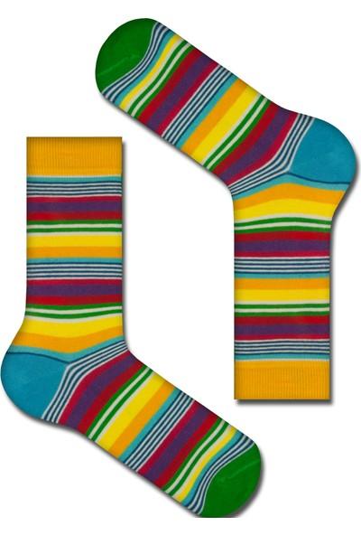 Tutku Çorap Sarı Çizgili Çorabı 40-45