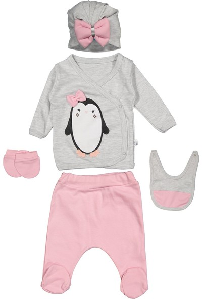 Miss Bella Patili Kids Nonna Baby Penguen Baskılı 5'li Set 0-3 Ay