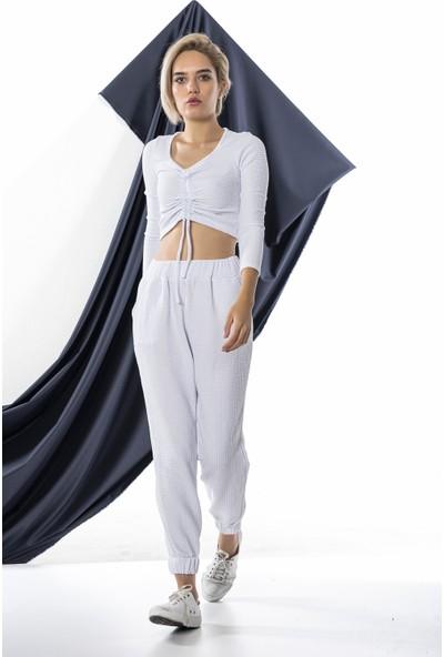 Echerchi Beyaz Kadın Önü Büzgülü Uzun Kollu Takım