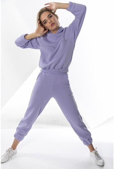 Echerchi Lila Kadın Lastikli Crop Sweatshirt Takım