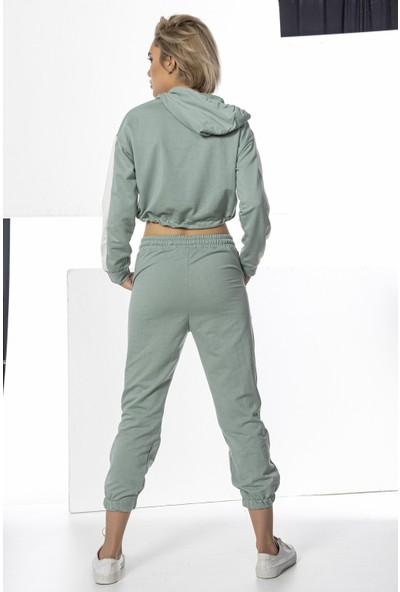 Echerchi Mint Yeşili Kadın Crop Sweatshirt Takım