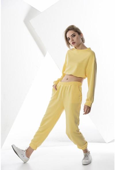 Echerchi Sarı Kadın Crop Sweatshirt Takım
