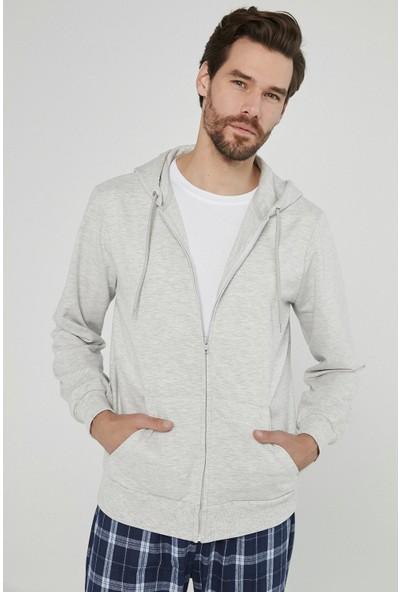 Penti Açık Gri Melanj Zip Hood Sweatshirt