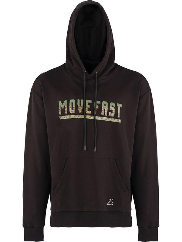 Lumberjack Sımon Slogan Hoodie Siyah Erkek Kapüşonlu Sweatshirt