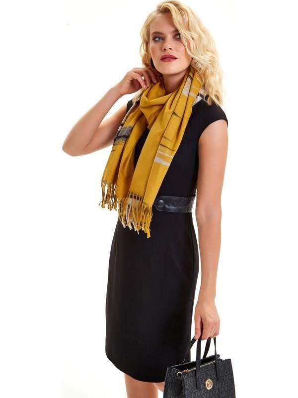İkiler Beli Deri Kemerli Fermuarlı Elbise 201-2505