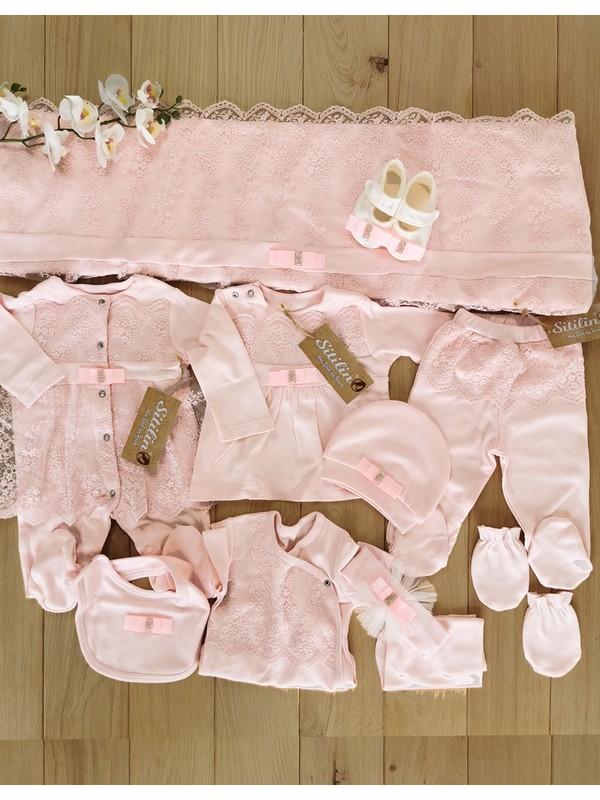 Sitilin Kız Bebek Dantelli Lüks 10 Lu Hastane Çıkışı Defne Sabunlu Set