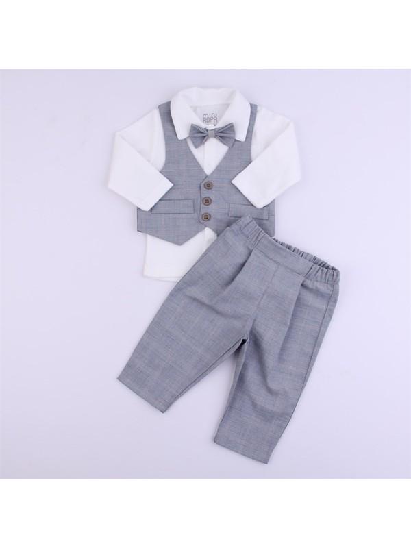 Miniropa Yelekli Erkek Bebek Takım -Kareli Gri