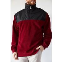 Xhan Bordo Deri Garnili Polar Sweatshirt 1KXE8-44233-05
