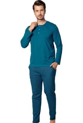 Akare 326 Mevsimlik Uzun Kollu Cepli Erkek Pijama Takımı Ev Pijaması