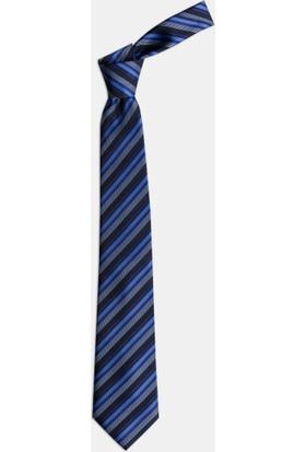 1001 Kravat Çizgili Mavi Kravat