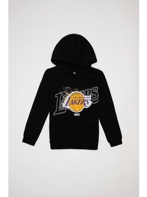 DeFacto Erkek Çocuk NBA Lisanslı Los Angeles Lakers Baskılı Kapüşonlu İçi Yumuşak Tüylü Sweatshirt S9564A620WN