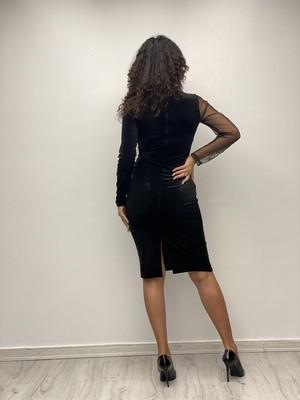 Gökmen Kotan Taş Işlemeli Tül Detaylı Elbise Siyah