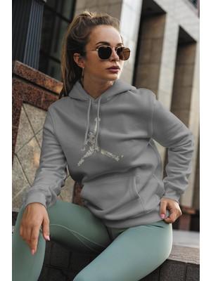 Tonny Mood Air Jordan 15 Gri Nba Kadın Kapşonlu Sweatshirt - Hoodie