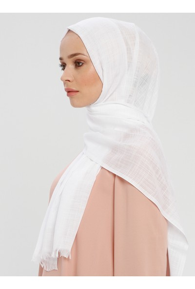 Mervin Şal Flamlı Düz Kısa Saçaklı Şal Beyaz