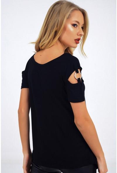 Buketli̇ Yaka Ve Kol Halka Detaylı T-Shirt