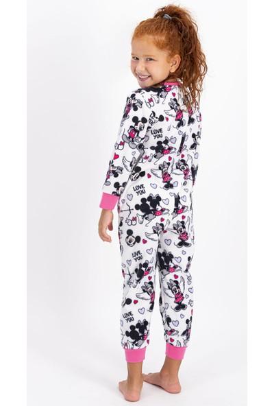Minnie Mouse Lisanslı Pembe Kız Çocuk Polar Tulum