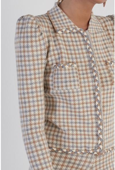 Join Us Balon Kol Desenli Çıtçıtlı Triko Ceket