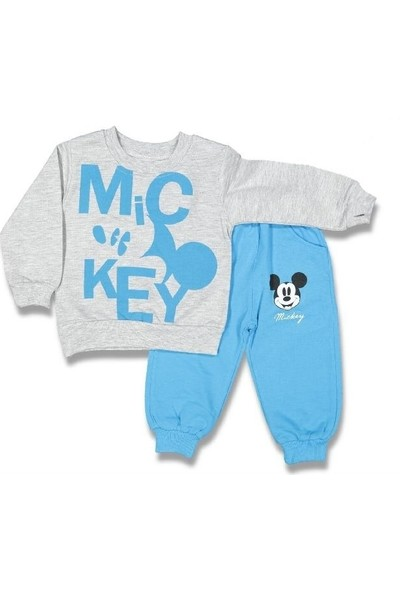 Babydo Erkek Çocuk Gri Mickey Mouse Çocuk Alt Üst Eşofman Takım 9 - 12 Ay