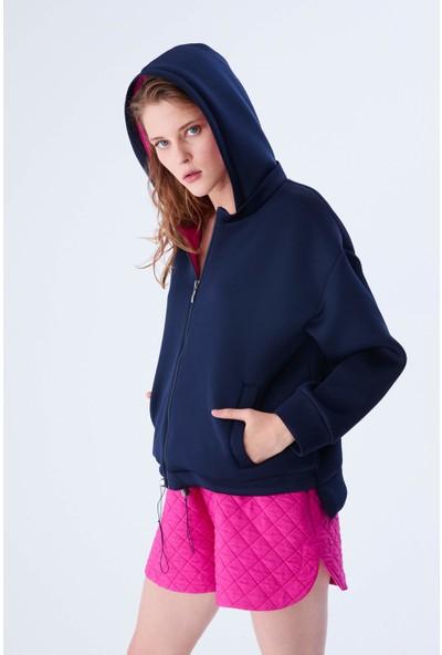 Roman Pembe Detaylı Kapüşonlu Lacivert Sweatshirt-K2154118-015