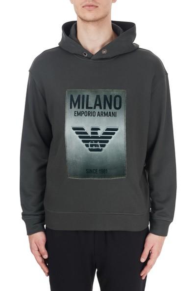 Emporio Armani Baskılı Kapüşonlu Pamuklu Erkek Sweatshirt 6H1MM1 1jphz 0564