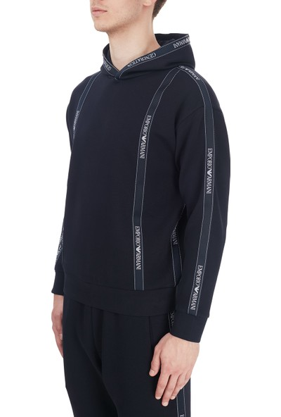 Emporio Armani Logo Bantlı Kapüşonlu Pamuklu Erkek Sweatshirt 6H1M82 1jhsz 0920