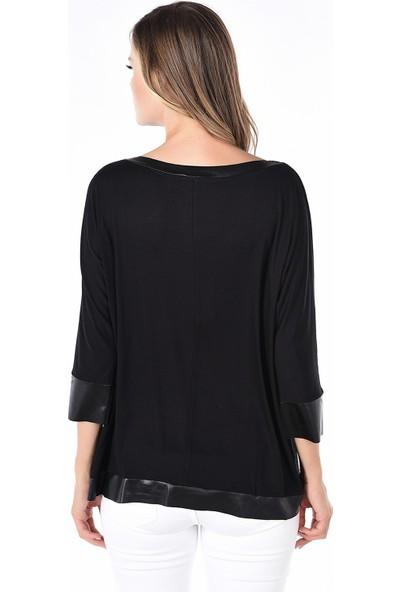 Whip Design Siyah Düz Kayık Yaka Standart Boy Uzun Kol Deri Bluz