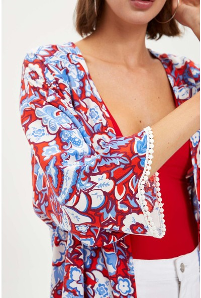 DeFacto Çini Şal Desen Güpür Detaylı Viskon Kimono S4054AZ20SM