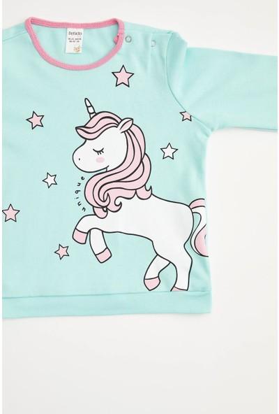 DeFacto Kız Bebek Unicorn Baskılı Pijama Takım S4012A220WN