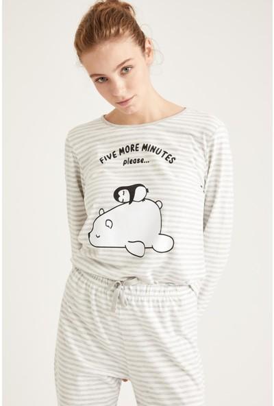 DeFacto Kadın Minimal Yazı Baskılı Uzun Kollu Pijama Takımı