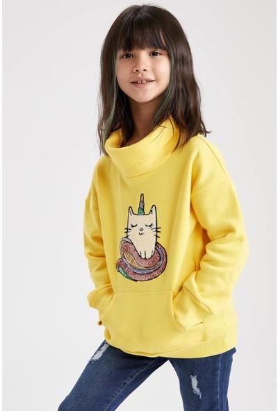 DeFacto Kız Çocuk Balıkçı Yaka Payet İşlemeli Sweatshirt S0221A620WN