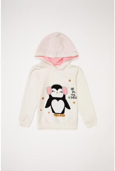 DeFacto Kız Çocuk Baskılı Kapüşonlu Sweatshirt S9629A620AU