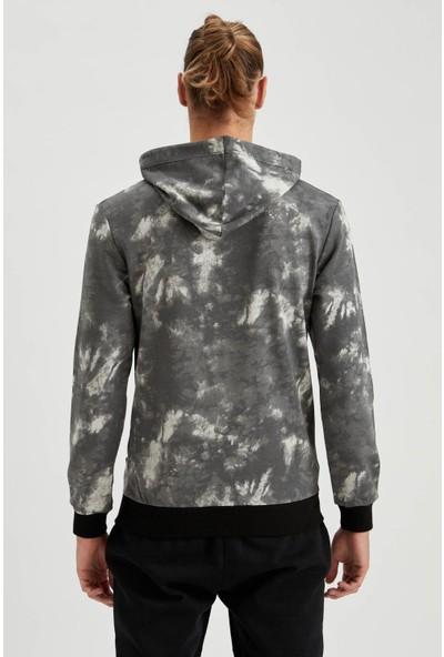 DeFacto Desenli Slim Fit Kapüşonlu Sweatshirt T1550AZ20WN