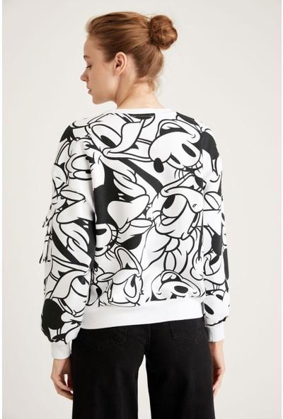 DeFacto Mickey Mouse Lisanslı Relax Fit Crop Sweatshirt S8797AZ20WN