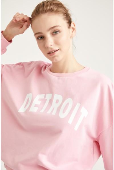 DeFacto Yazı Baskılı Oversize Sweatshirt T1769AZ20AU