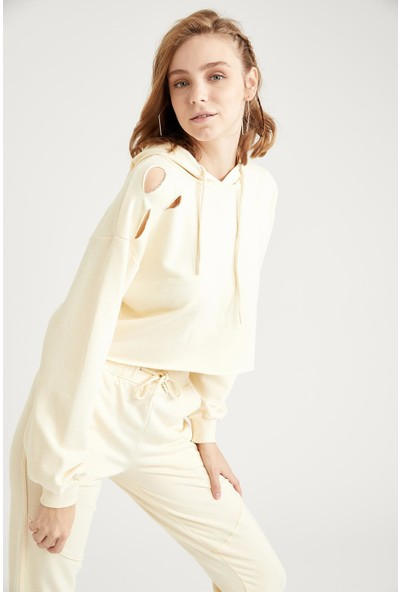 DeFacto Kesik Detaylı Relax Fit Crop Sweatshirt T4615AZ20WN