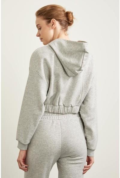 DeFacto Kapüşonlu Beli Büzgülü Crop Sweatshirt S7260AZ20WN