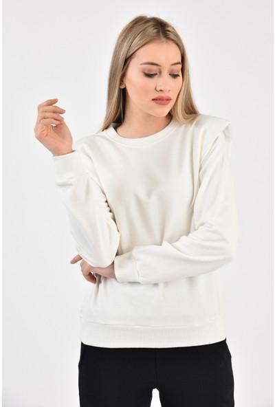 Dema Kadın Ekru Vatkalı Sweatshirt