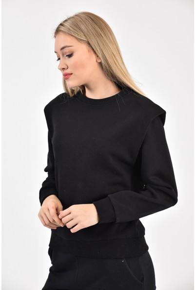 Dema Kadın Siyah Vatkalı Sweatshirt
