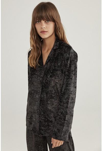 Penti Siyah Koyu Kadife Pijama Takımı