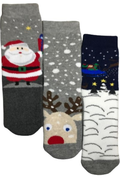 Aktaş Socks Kaydırmaz Havlu Çocuk Çorabı 3'lü