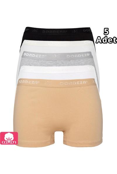 Dondeza 5'li Karışık Renk Penye Bayan Boxer