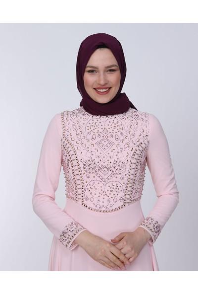 Perya Gövde Boncuk Işlemeli Şifon Abiye Elbise Pudra Kadın Giyim