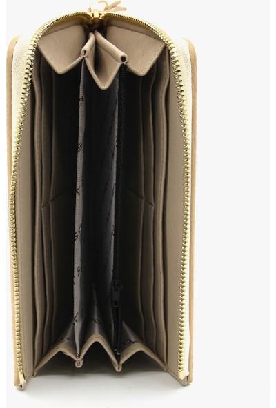Just Polo Krem Kadın Baskı Desenli Cüzdan Kartlık JPT0011