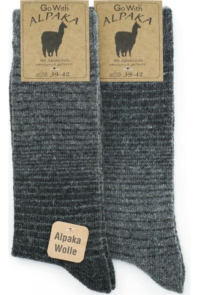 Go With Montana Doğal Alpaka Yünü Gri Antrasit Soft Yün Kışlık Çorap 2 Çift